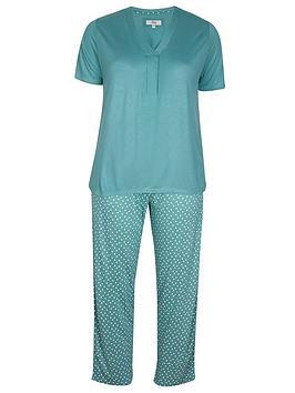 Evans Evans Sage Green Spot Print Pyjama Set - Green Picture