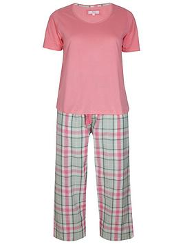 Evans   Check Pant Pyjama Set - Pink
