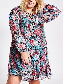 RI Plus Ri Plus Floral Ruffle Swing Dress - Blue Picture