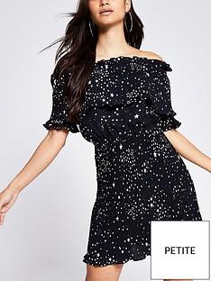 ri-petite-plisse-bardot-mini-dress-black