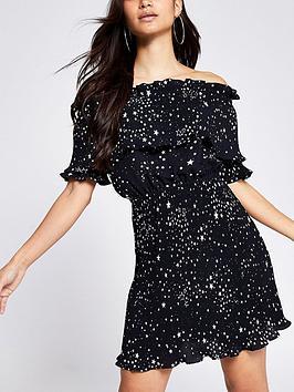 RI Petite Ri Petite Plisse Bardot Mini Dress - Black Picture