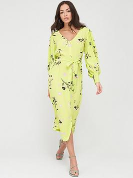 River Island River Island Floral Wrap Front Midi Dress - Lime Picture