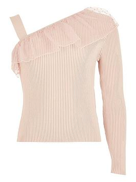 River Island River Island Girls Frill One Shoulder Knitted Top-Pink Picture