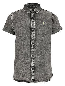 River Island River Island Boys Short Sleeve Denim Shirt-Grey Picture