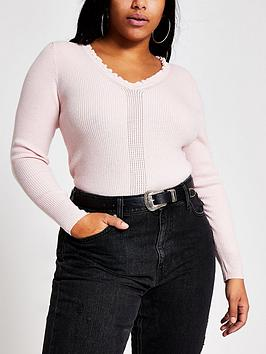 RI Plus Ri Plus V-Neck Knitted Top - Pink Picture