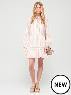 river-island-premium-lurex-tie-neck-smock-dress-light-pink