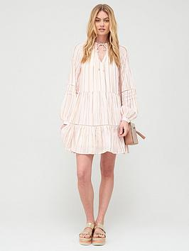 River Island River Island Premium Lurex Tie Neck Smock Dress - Light Pink Picture