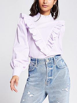 RI Petite Ri Petite Frill Stripe Top - Lilac Picture