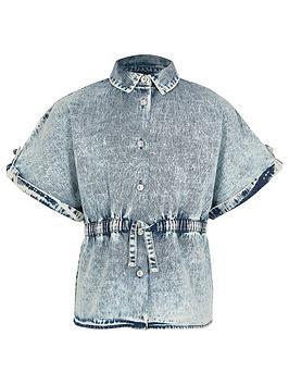 River Island River Island Girls Denim Drawstring Shirt-Blue Picture