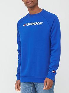 tommy-sport-logo-fleece-crew-blue