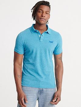 Superdry Superdry Classic Pique Short Sleeved Polo Top - Electric Blue Picture