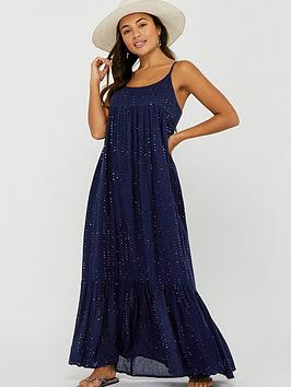 Accessorize   Sequin Maxi Dress - Navy