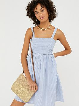 Accessorize   Wide Strap Striped Smocked Dress - Blue