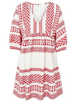 Accessorize   Long Sleeved Jacquard Dress- Red