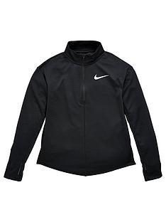 nike-older-childrensnbsprun-long-sleeve-half-zip-top-black-silver