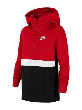 nike-older-boys-club-hoodie-redblack