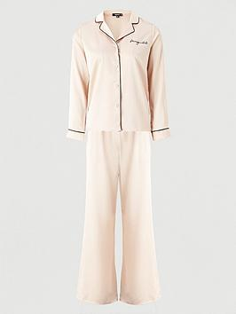 missguided-missguided-embroidered-satin-pyjama-shirt-set-champagne
