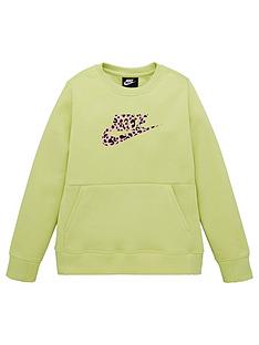 nike-older-childrensnbspcrew-print-sweat-green-pink