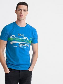 Superdry Superdry Vintage Label Cross Hatch T-Shirt - Electric Blue Picture