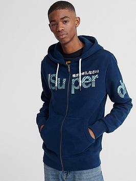 Superdry Superdry Core Split Logo Zip Hoodie - Blue Picture
