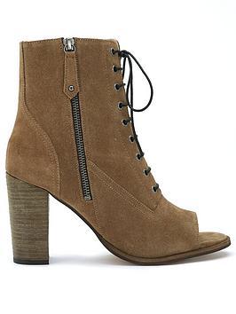 Mint Velvet Mint Velvet Aston Khaki Peep Toe Boots Picture