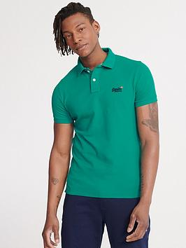 Superdry Superdry Classic Pique Short Sleeved Polo Top - Turquoise Picture
