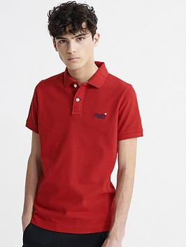 Superdry Superdry Classic Pique Short Sleeved Polo Top - Red Picture