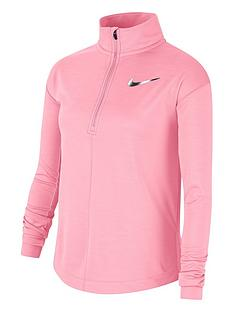 nike-older-childrensnbsprun-long-sleeve-half-zip-top-pink