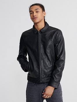 Superdry Superdry Curtis Light Leather Jacket - Black Picture