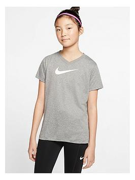 nike-older-girls-dry-vneck-swoosh-t-shirt-grey