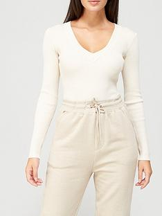 missguided-missguidednbspskinny-rib-knitted-v-neck-body-sand