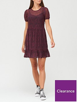 v-by-very-tiered-mesh-dress-blackfloral