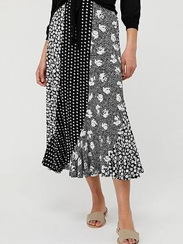 Monsoon Tana Patch Print Skirt - Black