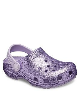 Crocs Crocs Girls Classic Glitter Clog Slip On - Purple Glitter Picture
