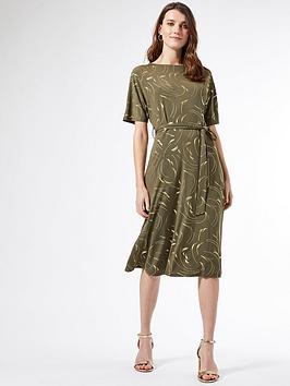 Dorothy Perkins Dorothy Perkins Foil Batwing Midi Dress - Khaki Picture