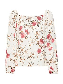 Dorothy Perkins Dorothy Perkins Floral Frill Front Long Sleeve Top - Ivory Picture