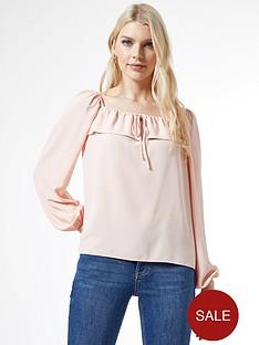 dorothy-perkins-frill-trimnbsplong-sleeve-top-pink