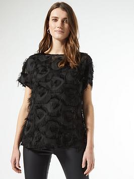 Dorothy Perkins Dorothy Perkins Textured Drop Shoulder Blouse - Black Picture