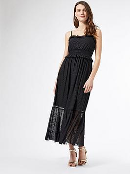 Dorothy Perkins Dorothy Perkins Mesh Flocked Strappy Midi Dress - Black Picture