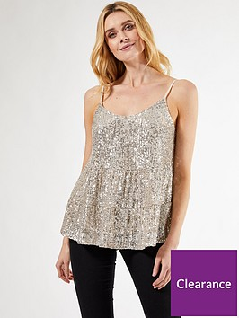 dorothy-perkins-tiered-sequin-cami-top-silver