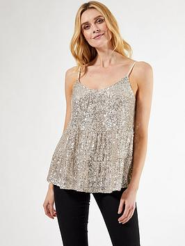 Dorothy Perkins Dorothy Perkins Tiered Sequin Cami Top - Silver Picture