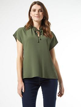Dorothy Perkins Dorothy Perkins Short Sleeve Pie Crust T-Shirt - Khaki Picture