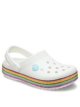 Crocs Crocs Girls Crocband Rainbow Clog Slip On - White Picture