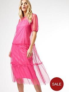 dorothy-perkins-mesh-spot-tiered-midi-dressnbsp--pink
