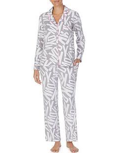 dkny-all-over-logo-long-sleeve-top-and-trouser-fleece-sleep-set-grey