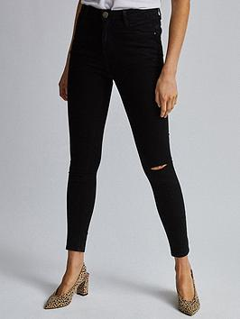 Dorothy Perkins Dorothy Perkins Shape And Lift Ripped Skinny Jeans - Black Picture