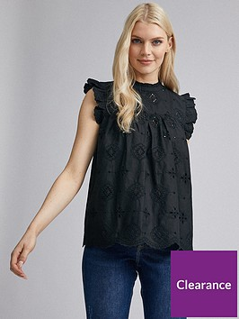 dorothy-perkins-eco-broderie-shell-top-black