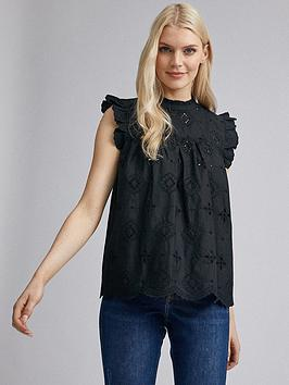 Dorothy Perkins Dorothy Perkins Eco Broderie Shell Top - Black Picture
