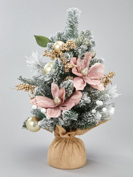 frosted-rose-tabletop-christmas-tree