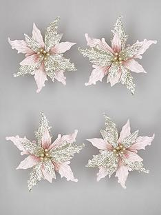 set-of-4-pinkchampagne-poinsettia-christmas-tree-clips